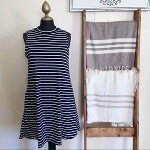 Simply Southern Striped High Neck Sleeveless Dress Dark Blue White Size Small